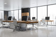 canvas print picture - Gray panoramic office interior, wooden bookcases