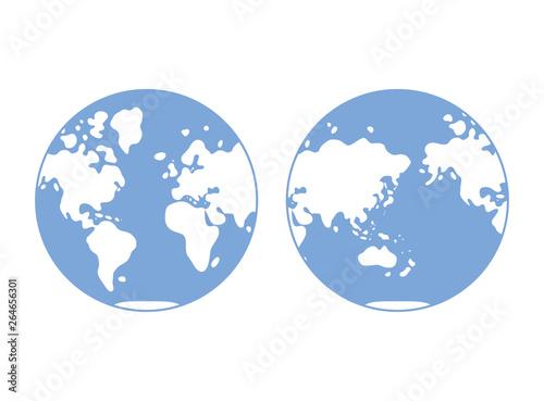 World map, western and eastern globe hemisphere, flat vector
