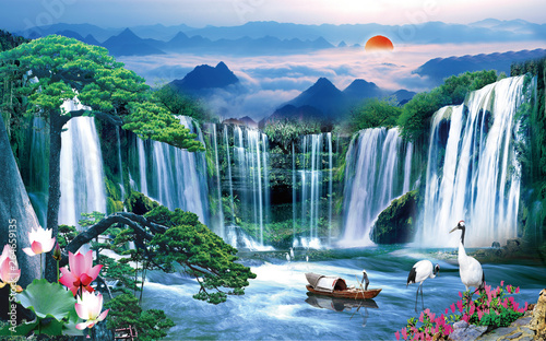 Ingelijste posters Watervallen 3d lake wallpaper nature