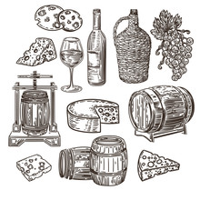 Vector Hand Drawn Set Of Wine, Cheese,  Grapes, Barrels And Wine Press In The Engraving Style Isolated On White Background.