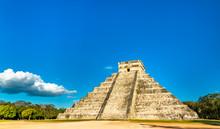 El Castillo Or Kukulkan, Main Pyramid At Chichen Itza In Mexico