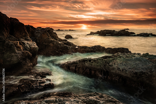 Recess Fitting Deep brown Amazing rugged beach sunset