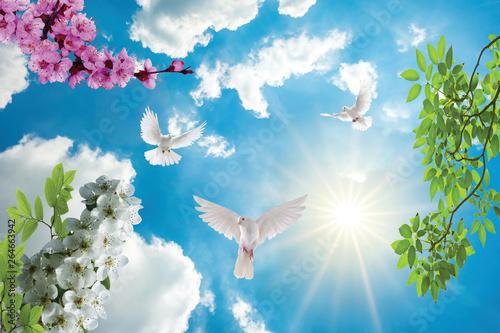 Fotografie, Obraz  sky and clouds, flower, bridge, tree,sun,butterfly,pigeon ,