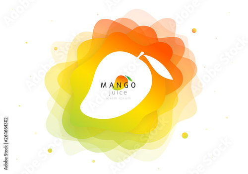 Mango tropical fruit for fresh juice cocktail. 3d abstract shape liquid splash. Flat fluid of creative paint blend. Modern vector illustration design layout - 264664302