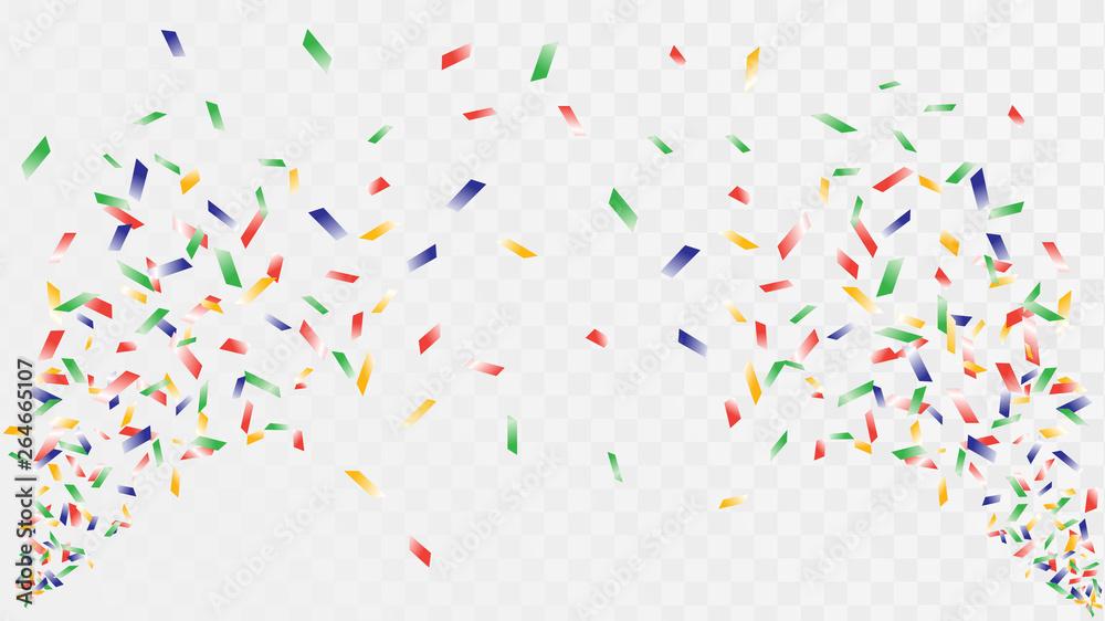Fototapeta Shot of confetti crackers on a transparent background, celebration and celebration, fun decorations