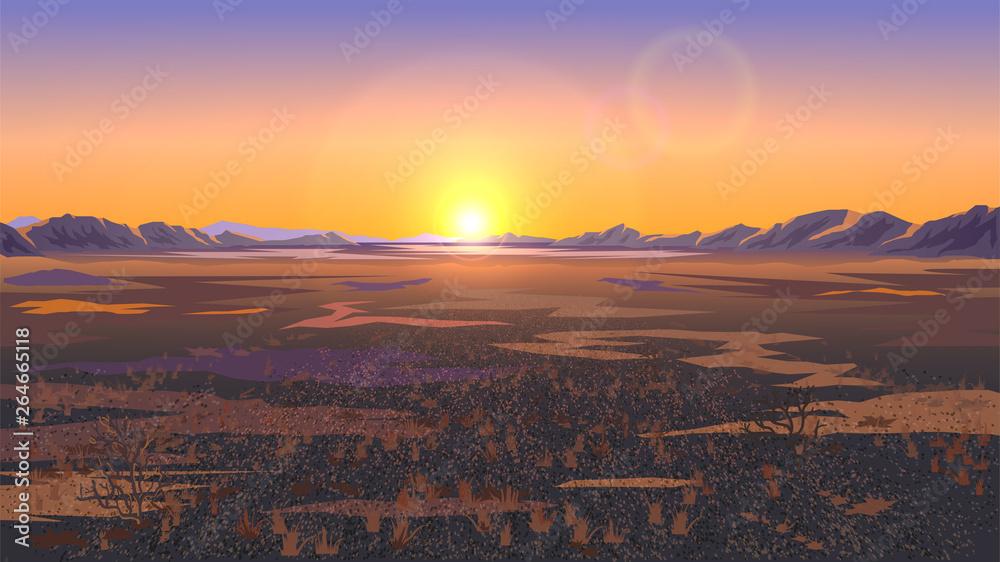 Fototapety, obrazy: Landscape with field or plain, desert landscape, sunset or dawn