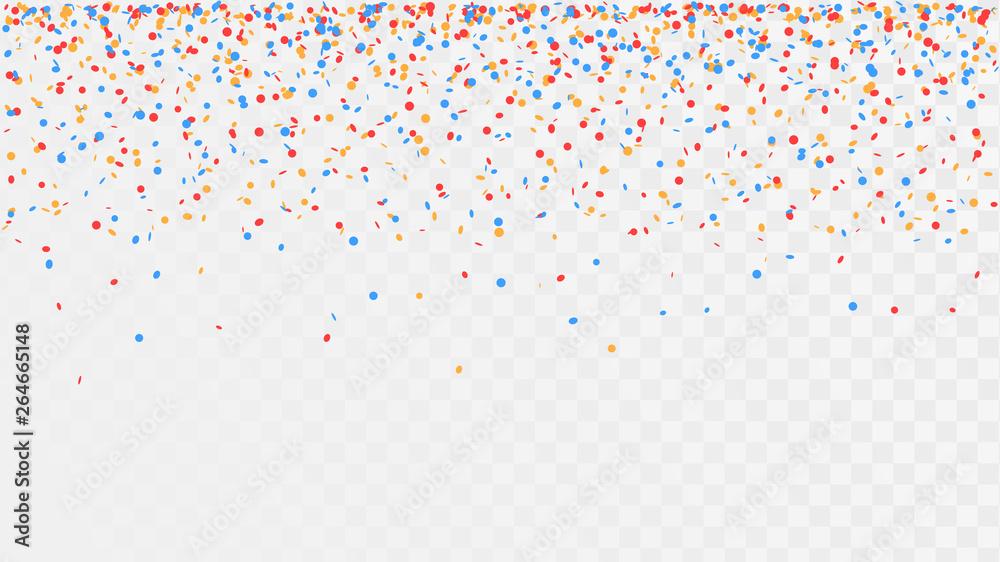 Fototapeta Falling confetti on a transparent background, celebration and festival, fun decoration - obraz na płótnie