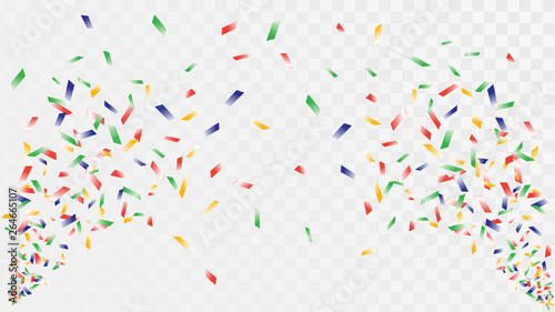 Fotografía  Shot of confetti crackers on a transparent background, celebration and celebrati