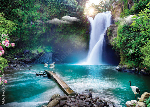 Printed kitchen splashbacks Forest river 3d wallpaper lake and sea or waterfall