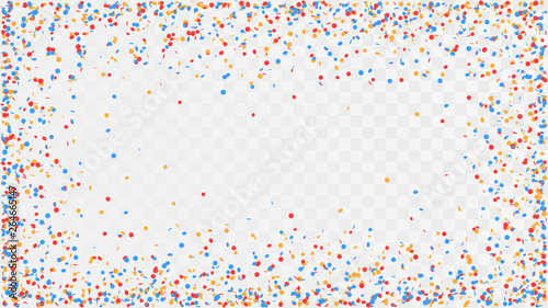 Photo  Poured confetti on a transparent background, a frame of colorful confetti, fun d