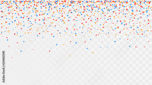 Photo  Falling confetti on a transparent background, celebration and festival, fun deco