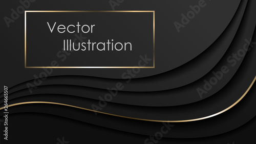 Fotografering Black elegant background with layers and shadows, business card, poster