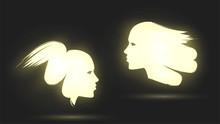Brush-drawn Two Luminous Faces In Profile, Emblems