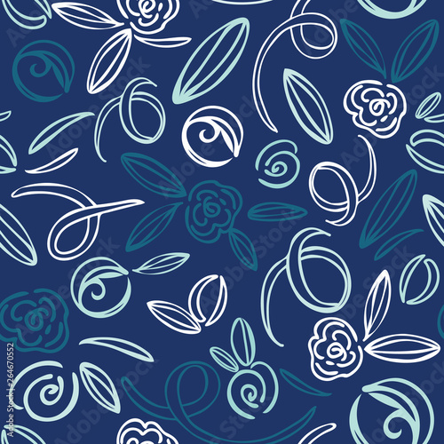 Cute hand drawn flower doodles seamless pattern. Modern floral all over vector print in blue, teal and white, great for fashion, stationery, textiles, scrapbooking, home decor and invitations.