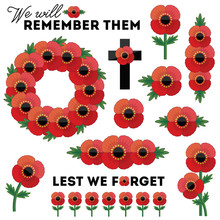 Set Of Design Elements Isolated On White For Anzac Day And Remembrance Day With Banner Elements, Single Poppies, Cross, Poppy Wreath. Typographic Messages Lest We Forget And We Will Remember.