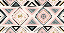 Pink Green Black Geometric Seamless Pattern In African Style With Square,tribal,circle Shape