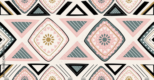 Foto auf AluDibond Boho-Stil pink green black geometric seamless pattern in African style with square,tribal,circle shape