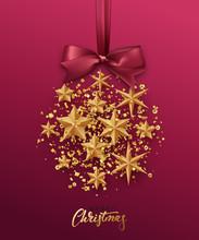 Christmas Golden Ball Made Of Gold Stars.