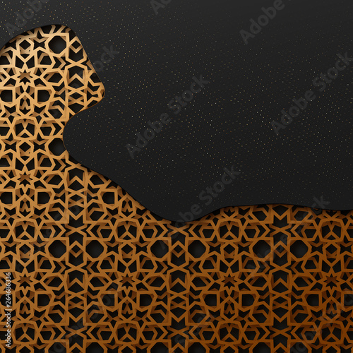Fotografia, Obraz  Black and gold background with geometric texture tunnel style cut out paper embossing pattern