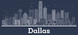 Outline Dallas Texas City Skyline with White Buildings.