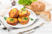 Delicious Egg Muffins With Meat, Cheese And Vegetables .