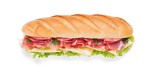 Tasty Fresh Baguette Sandwich With Ham, Cheese And Lettuce Isolated On White Background.