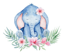 Watercolor Cute Elephant With ...