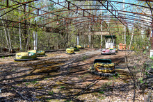 Abandoned Amusement Park In The City Center Of Prypiat In Chornobyl Exclusion Zone. Radioactive Zone In Pripyat City - Abandoned Ghost Town. Chernobyl History Of Catastrophe. April 2019