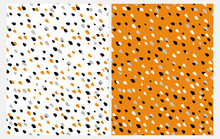 Set Of 2 Abstract Seamless Vector Patterns With Hand Drawn Irregular Dots On A White And Orange Background. Black, Gray, White And Orange Geometric Doted Design. Funny Repeatable Party Layouts.