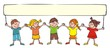 group of little chilldren with banner, vector illustration
