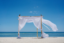 Romantic Place By The Sea. White Fabric Curtains Fluttering In The Wind.