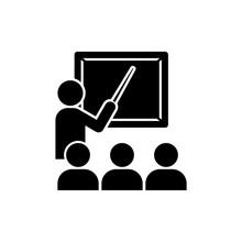 Teacher At Chalkboard Icon