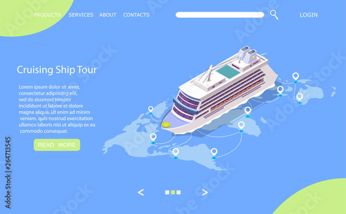 Obraz na płótnie Cruise ship tour vector website landing page design template