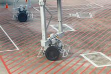 Wheel Carriage Of Jet Bridge At Airport