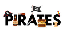 Pirates Word Concept Flat Vect...