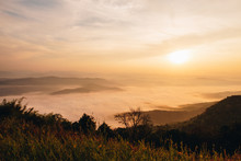 Dawn Of Sea Fog On The Top Of The Sierra At Doi Samer Dao, Nan, Thailand