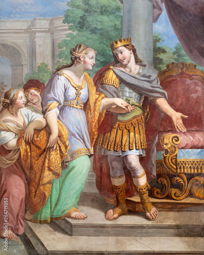 ACIREALE, ITALY - APRIL 11, 2018: The fresco of Esther and king Xerxes in church Chiesa di San Camillo by Pietro Paolo Vasta (1745 - 1750).
