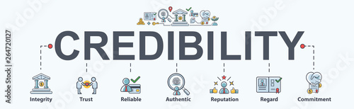Obraz na płótnie Credibility banner web icon for business and financial, Regard, Reputation, Authentic, Reliable, Trust and Integrit
