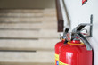 Extinguisher in public places. Image about fire station, fire, danger, safety.