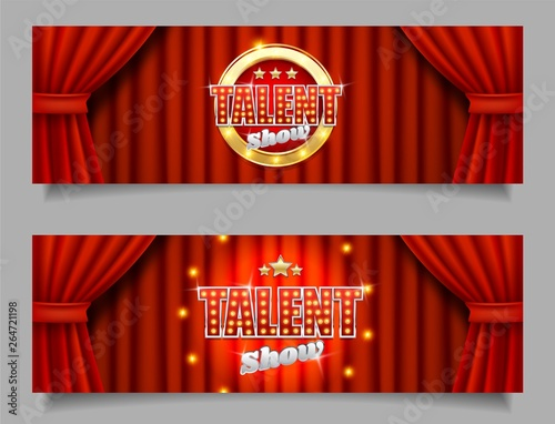 Fototapeta Talent show vector horizontal banner template set obraz