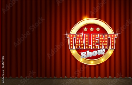 Obraz Talent show poster template, vector realistic illustration - fototapety do salonu
