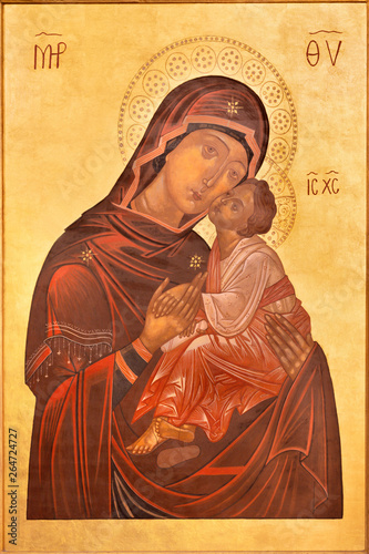 CATANIA, ITALY - APRIL 6, 2018: The icon of Madonna in church Basilica Maria Santissima dell'Elemosina by unknown artist.