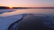 Winter sunset sea aerial shot