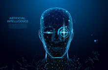 Robot Or Cyborg Man With AI. Robot With Artificial Intelligence.  Machine, Learning. Biometric Scanning, 3D Scanning. Face ID. Face Recognition. Scan Technology.Polygon Vector Wireframe Concept