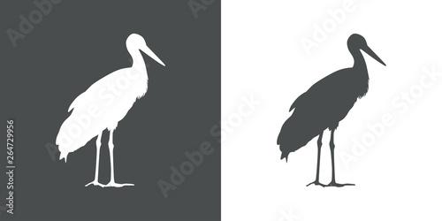 Icono plano cigüeña de pie en gris y blanco Canvas Print