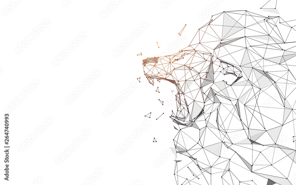 Fototapeta Lion Roaring from lines, triangles and particle style design. Illustration vector