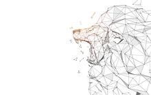Lion Roaring From Lines, Triangles And Particle Style Design. Illustration Vector