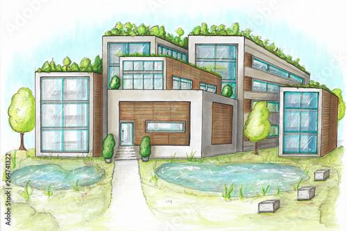 Photo Handgezeichnete futuristische Häuser mit Dachbepflanzung-natürliche KlimAANLAGE