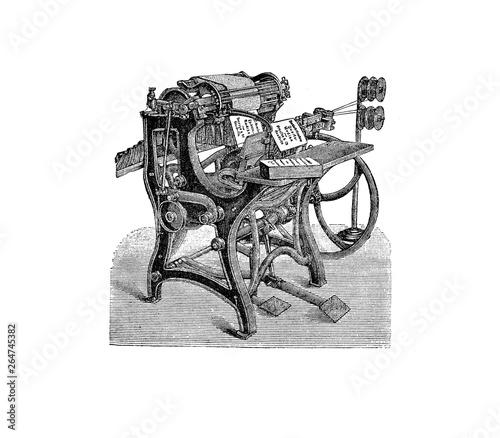 Obraz na plátně  print ,press ,machine,old ,vintage ,engraved ,etch, factory ,newspaper ,illustr
