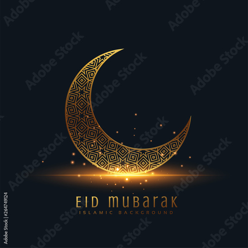 Photo beautiful eid mubarak golden decorative moon greeting